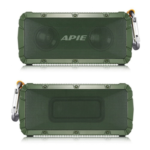 APIE Portable Wireless Outdoor Bluetooth Speaker IPX6 Waterproof Dual 10W Driversf , Enhanced Bass, Built in Mic,water Resistant,Beach, Shower & Home