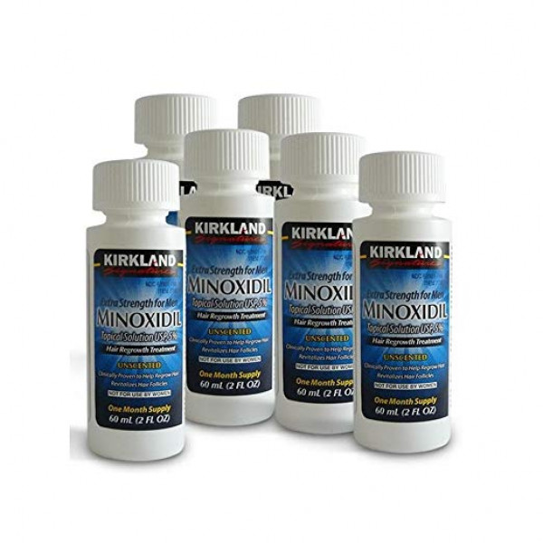 6 Months Worth of Kirkland Minoxidil 5 Percentage Extra Strength Hair Loss Regrowth Treatment Men, 12 oz , UAE